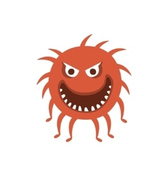 Round red hairy aggressive malignant bacteria vector