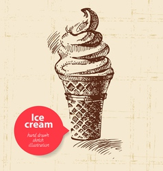 Vintage sweet ice cream background vector