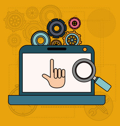 background with laptop computer and tools for vector image