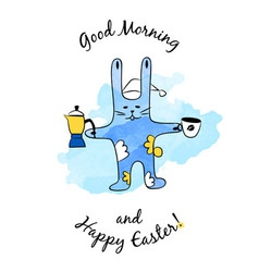 Cartoon Easter Bunny with coffee vector image