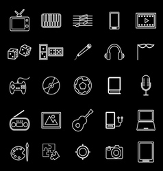 Entertainment line icons on black background vector image