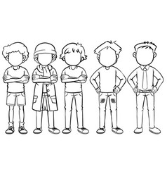faceless man in different costume vector image