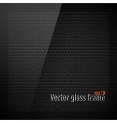 Glass frame background on carbon fiber texture vector image