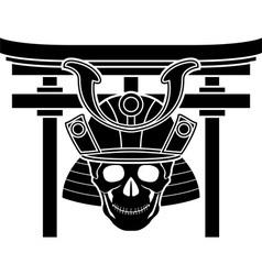 skull of samurai and torii gate vector image vector image