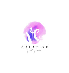 vc watercolor letter logo design with purple vector image