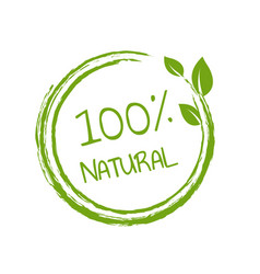 100 natural product white background vector image