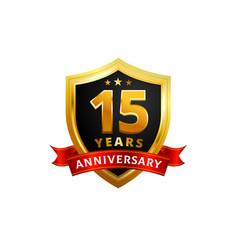 15 years anniversary golden shield badge logo vector image