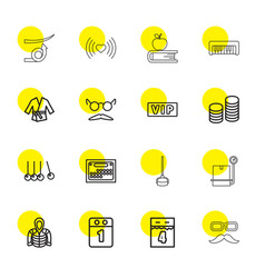 16 long icons vector image