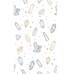 abstract line art crystal gems seamless pattern vector image
