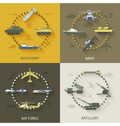 Army Flat Set vector image