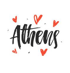 Athens modern hand written brush lettering vector