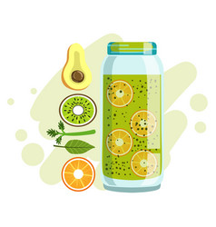 Avocado orange and kiwi smoothie non-alcoholic vector