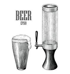 beer mug and beer tower vintage hand draw vector image