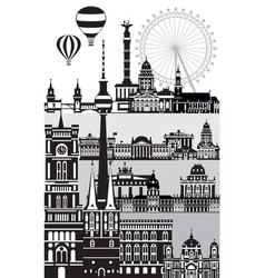 Berlin cityscape vertical vector