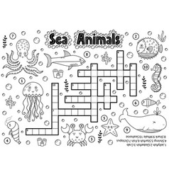 black and white crossword with sea animals vector image