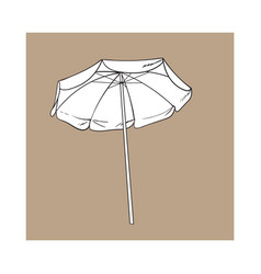 Black and white open beach umbrella sketch style vector