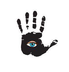 Black hand print with blue all seeing eye inside vector