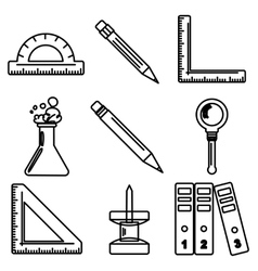Black school goods black ink icons Part 3 vector
