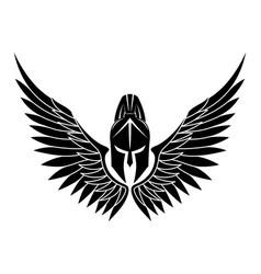black spartan helmet with wings vector image
