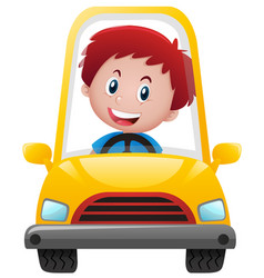 Boy driving on yellow car vector