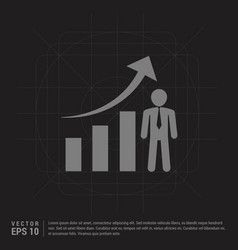 business man with growing graph icon - black vector image