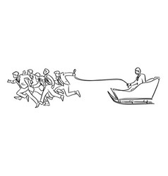businesspeople running with his boss on sleigh vector image
