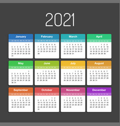 calendar 2021 year template day planner in this vector image