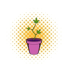 Cannabis plant in a pot icon comics style vector