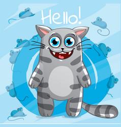 Cartoon cat hello vector