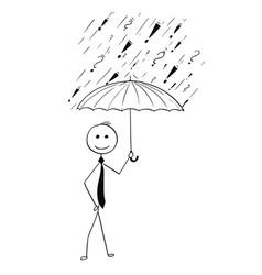 Cartoon of business man holding umbrella vector