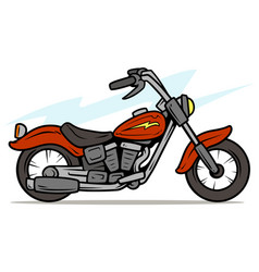 cartoon retro red motorbike vector image