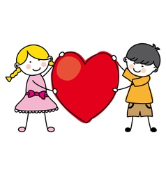 children holding a heart vector image