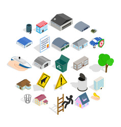 city administration icons set isometric style vector image