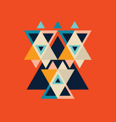 colorful poster with triangle geometric shapes vector image