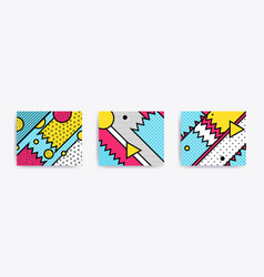 Colorful trend neo memphis geometric backgrounds vector