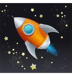 Comic cartoon rocket space ship vector image