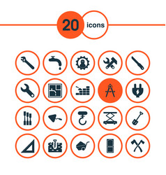 Construction icons set with trowel working vector