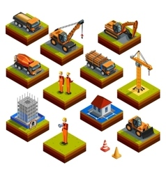 Construction Isometric Isolated Icons vector