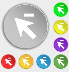 Cursor arrow minus icon sign Symbols on eight flat vector image