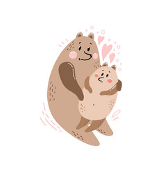 cute postcard happy family with a bear vector image