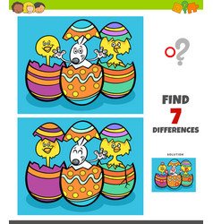 Differences game with cartoon easter characters vector