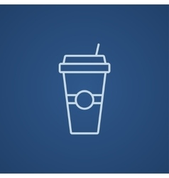 Disposable cup with drinking straw line icon vector image