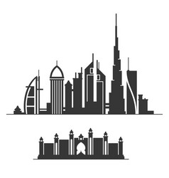 Dubai city skyline silhouette on white background vector