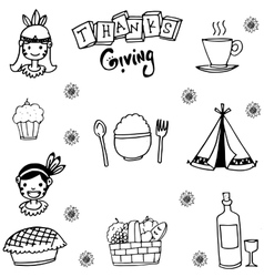 Element thanksgiving flat in doodle vector image