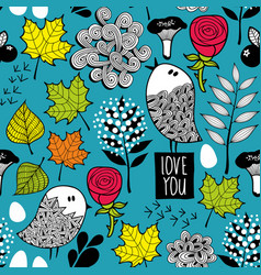 endless background with doodle birds and nature vector image
