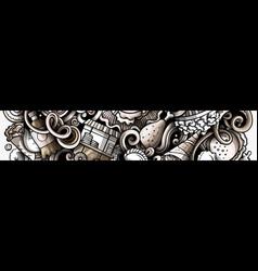 Fastfood hand drawn doodle banner cartoon vector