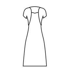 female clothes with strapless dress and vest in vector image