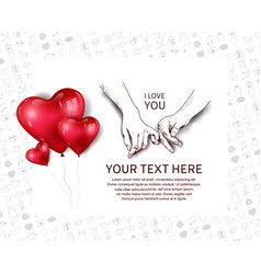 Finger holding hand hand drawn and heart balloons vector