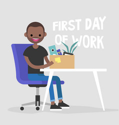 First day of work young black character holding a vector