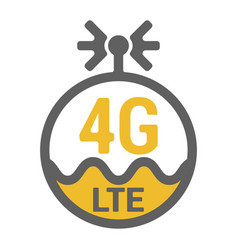 Flat 4g lte logo icon with antenna and wave vector